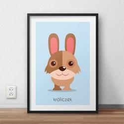 Kolorowy plakat do powieszenia na ścianie w pokoju dzieci ze pastelowym króliczkiem
