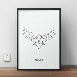 Skandynawski plakat grafika przedstawiająca orła namalowanego czarną kreską do powieszenia na ścianie
