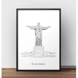 Plakat z pomnikiem Chrystusa Odkupiciela w Rio de Janeiro