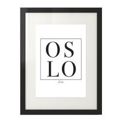 Czarno-biała grafika na ścianę z napisem OSLO zamkniętym w kwadracie