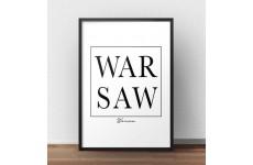 """Skandynawski plakat z napisem """"WARSAW"""" w ramce"""