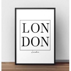 """Minimalistyczny plakat z napisem """"LONDON"""" w ramce"""