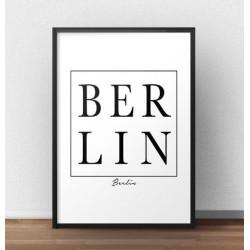 """Nowoczesny plakat na ścianę z napisem """"BERLIN"""" ukrytym w kwadratowej czarnej ramce."""