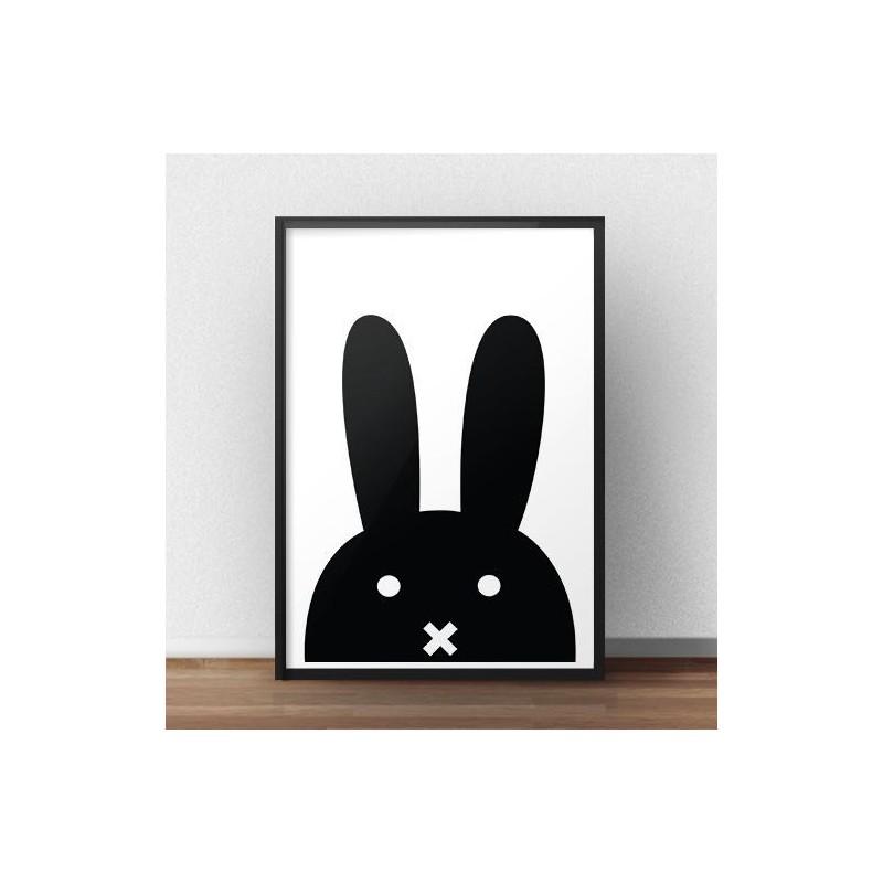 Scandinavian poster with black rabbit