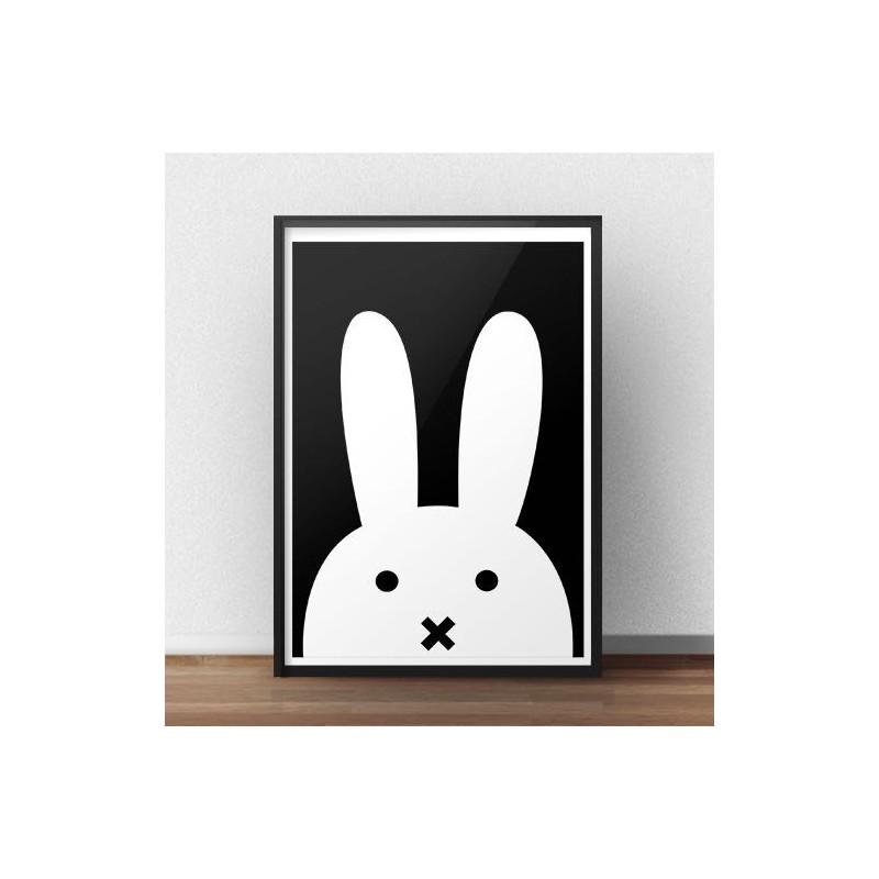 Scandinavian poster with white rabbit