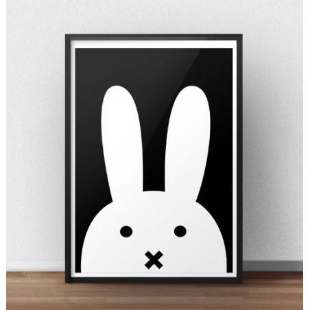 Skandynawski plakat z białym królikiem