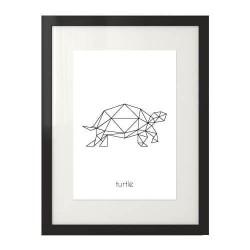 Plakat z grafiką żółwia namalowanego przy pomocy wielokątów z napisem turtle w dolnej części plakatu