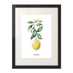 Nowoczesny plakat przedstawiający cytrynę z zieloną gałązką