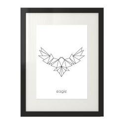 Plakat z grafiką orła rozwiniętymi z skrzydłami narysowanego przy wykorzystaniu figur geometrycznych