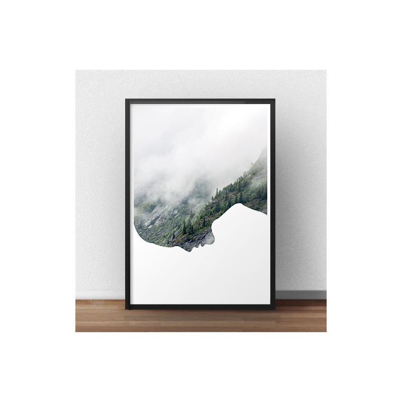Modern poster With head in the clouds