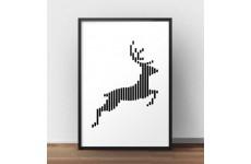 Plakat ze skaczącym jeleniem w stylu nowoczesnym i skandynawskim