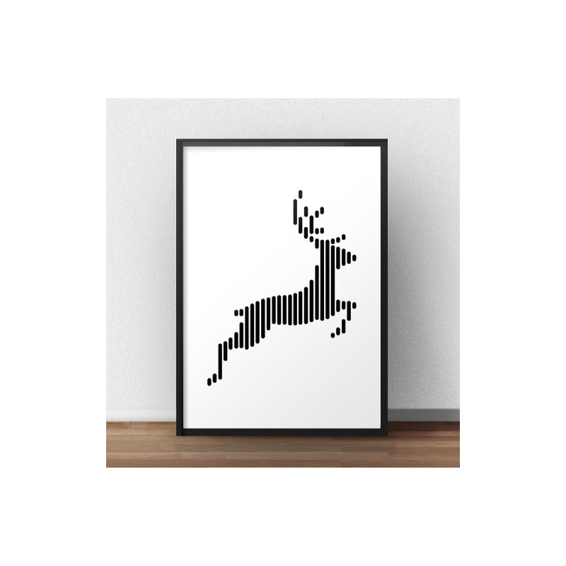 Poster with jumping deer
