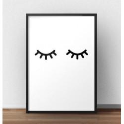 """Plakat minimalistyczny """"Zamknięte oczka"""" w stylu skandynawskim"""