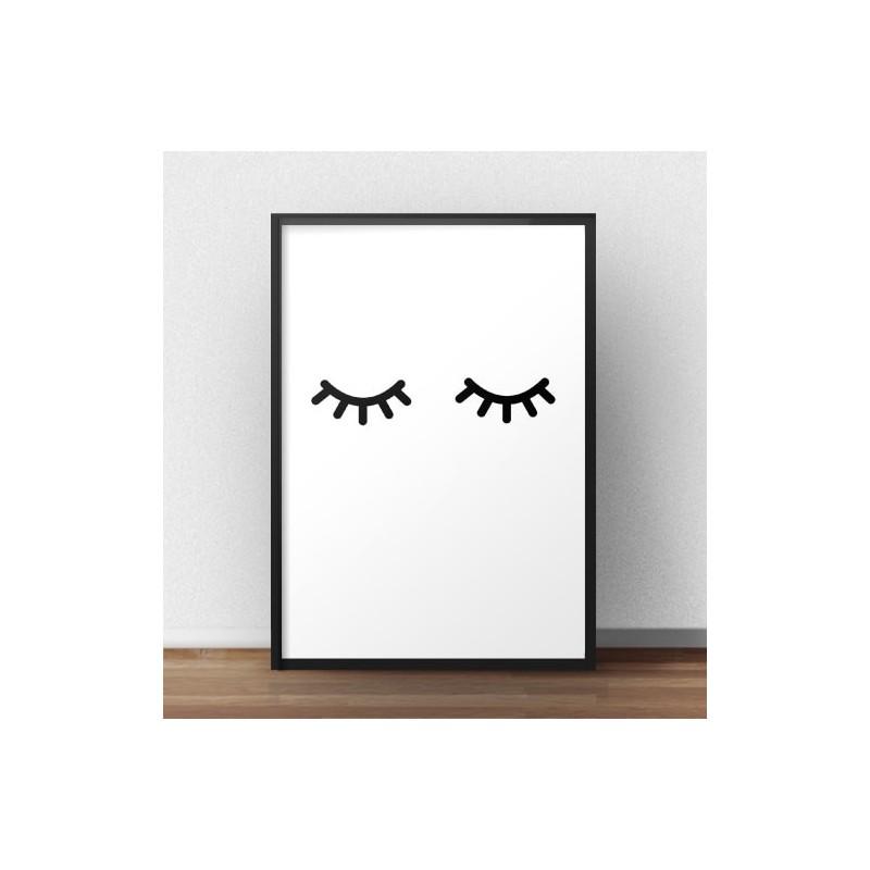 Plakat minimalistyczny Zamknięte oczka