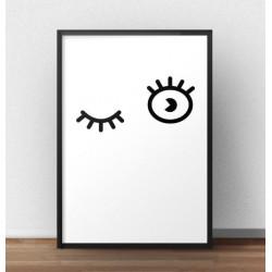 """Plakat minimalistyczny """"Puszczone oczko"""" w stylu skandynawskim i nowoczesnym"""