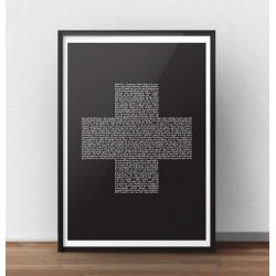 Czarny plakat typograficzny z krzyżykiem do powieszenia na ścianie