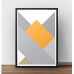 """Geometryczny plakat o nazwie """"Prostokąt"""" na cześć żółtego prostokąta umieszczonego w niemalże centralnej części plakatu."""