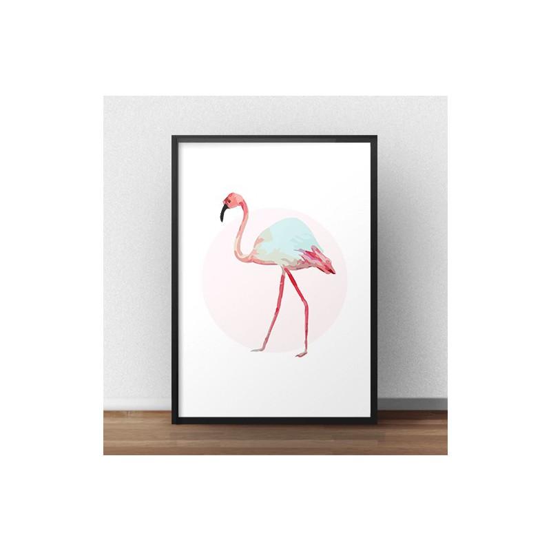 Plakat na ścianę z białym flamingiem na tle różowego koła