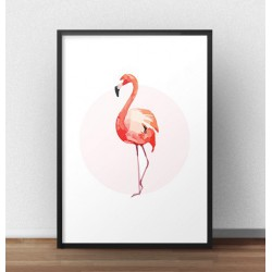 Plakat z różowym flamingiem stojącym przodem