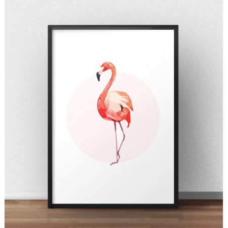 Plakat z różowym flamingiem - przód