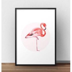 Klasyczny plakat z wizerunkiem flaminga stojącym bokiem na jednej nodze