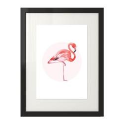 Kolorowy plakat na ścianę z różowym flamingiem na tle koła