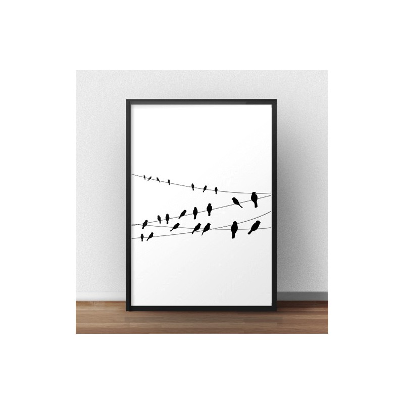 Black and white poster Cable Birds