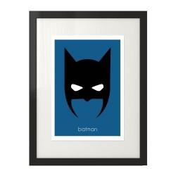 Plakat z głową Batmana w wersji kolorowej na granatowym tle