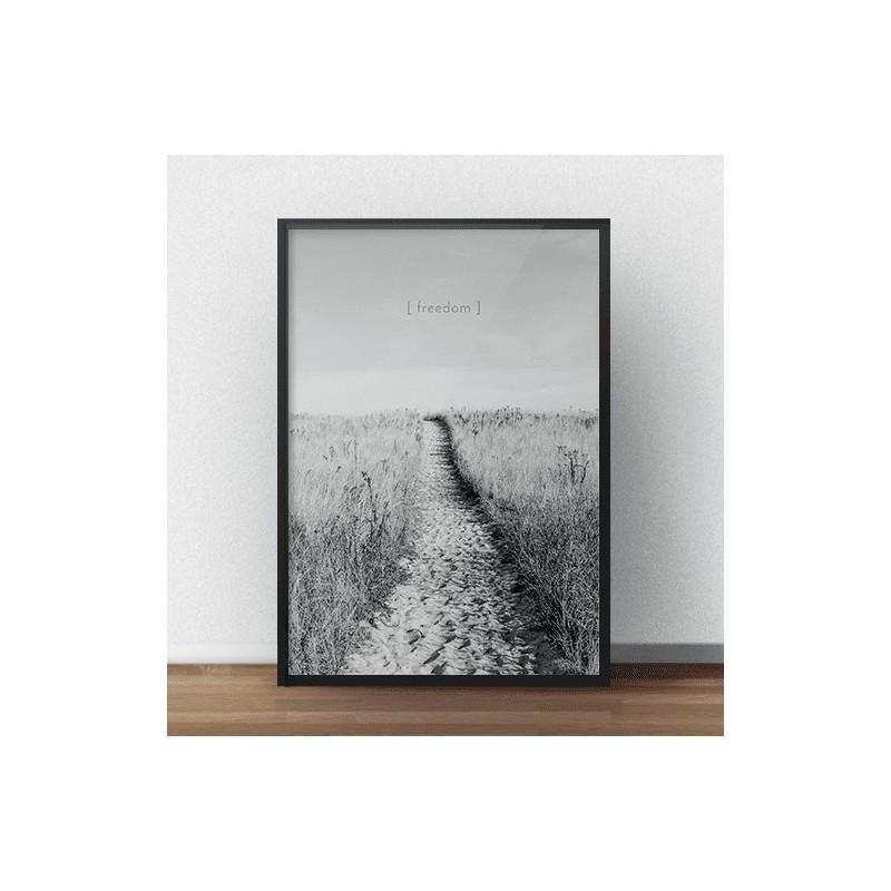 Czarno-biały plakat przedstawiający piaszczystą ścieżkę nad ocean i napisem freedom w górnej części plakatu
