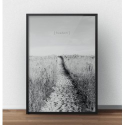 Czarno-biała grafika przedstawiająca drogę nad ocean i napis freedom