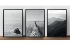 """Zestaw 3 czarno-białych plakatów fotograficznych na ścianę """"Freedom, Calm and Silence"""""""