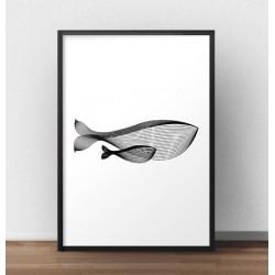 Minimalistyczny plakat z wielorybem w wersji pionowej