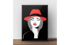 Kolorowa grafika na ścianę przedstawiająca kobietę w czerwonym kapeluszu na czarnym tle