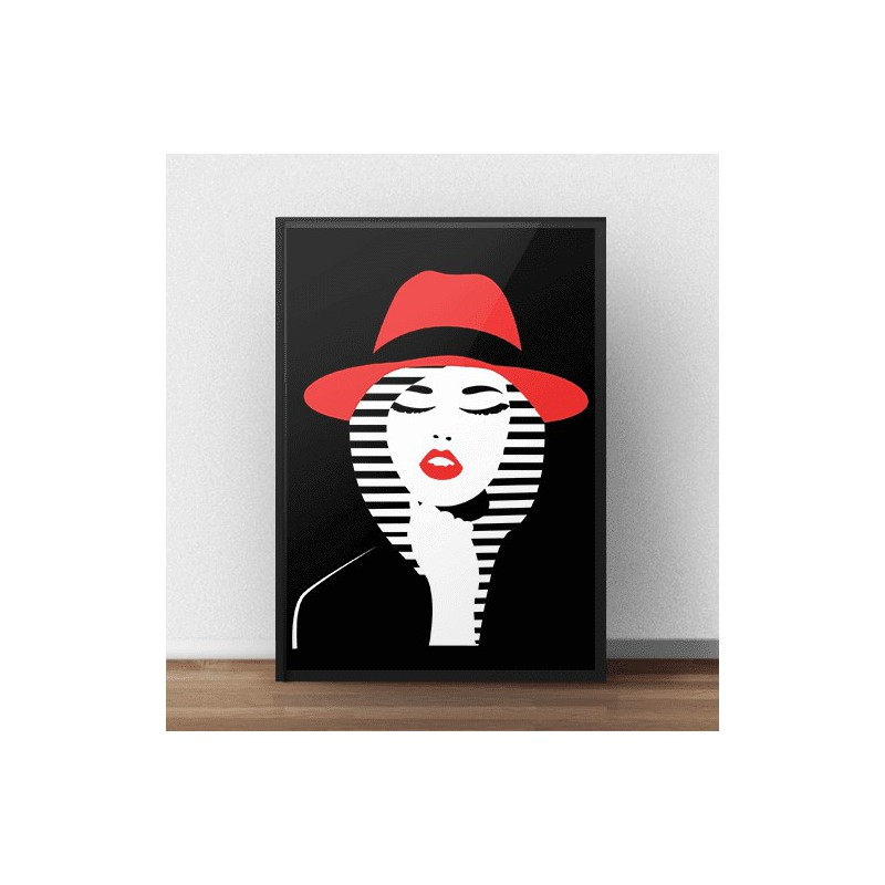 Colorful poster Woman in a hat