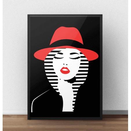 """Kolorowy plakat """"Kobieta w kapeluszu"""""""