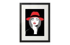 """Nowoczesny plakat """"Kobieta w czerwonym kapeluszu"""" do powieszenia na ścianę"""
