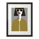 Plakat na ścianę w stylu nowoczesnym przedstawiający postać kobiety w żółtych okularach