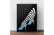 Plakat na ścianę w stylu nowoczesnym przedstawiający nogi w niebieskich szpilkach
