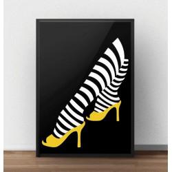 Plakat na ścianę intensywnie czarny z żółtym akcentem pantofelków