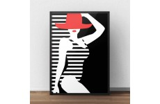 Modernistyczny plakat przedstawiający postać kobiety w czerwonym kapeluszu i pasiastym stroju kąpielowym