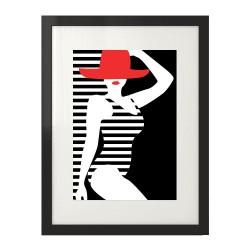Nowoczesna grafika na ścianę do dekoracji salonu lub sypialni z wizerunkiem kobiety w stroju plażowym