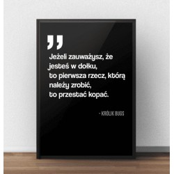 Czarny plakat motywacyjny na ścianę z cytatem Królika Bugsa