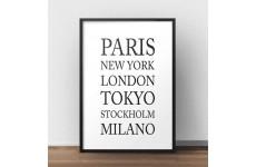 Plakat z nazwami miast Paryż, Nowy Jork, Londyn, Tokio, Sztokholm, Mediolan