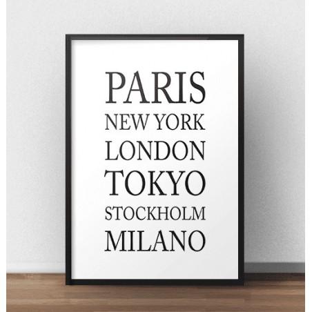 Plakat z nazwami miast