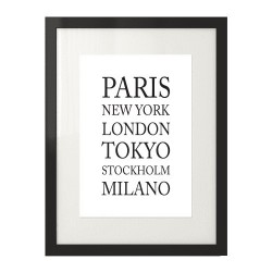 Typograficzny poster na ścianę dla fana podróży z nazwami miast