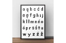 Plakat edukacyjny z małymi literami polskiego alfabetu