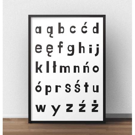 Plakat z polskim alfabetem - małe literki