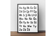 Plakat edukacyjny z dużymi i małymi literami polskiego alfabetu