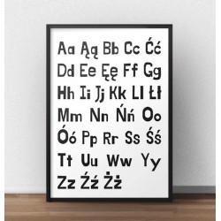 Plakat z polskim alfabetem - duże i małe literki