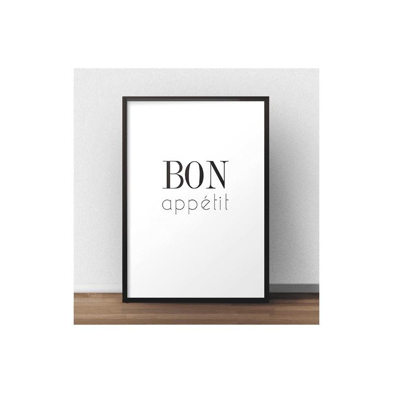 "Minimalistyczny plakat z napisem ""Bon appétit"" idealny do salonu połączonego z aneksem kuchennym"